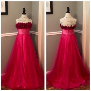 NEW FEATHERED PINK JEWELED STRAPLESS BALLGOWN